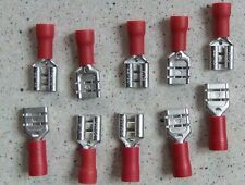 10 x 6.3mm Red Female Spade Crimp Spade Electrical Terminal Connectors KS 22-16