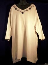 Nice Junonia Tunic Long 3/4 Sleeve Comfy 100% Cotton Sharp Embroided Neck