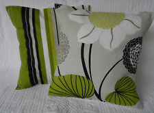 "4 Cushion Covers 16""  Lime Green Grey/Stone Black  2 Stripe 2 Flower New 40cm"