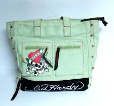 Ed Hardy Tote Bag Kills Love Slowly 2 Pocket Zip Skull Handbag Green Black