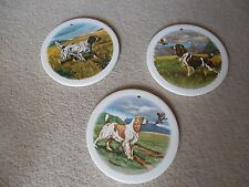 "H&r johnson ltd, set de 3 chien carreaux/plaque murale/dessous de plat, 6"" rond made in england"