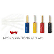 2 x 1m QED Silver Anniversary XT BI-WIRE Speaker Cable 4+4 AIRLOC ABS Terminated