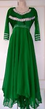 Ladies Indian Bollywood Pakistani Long Party Wedding Bridesmaid Prom Dress green