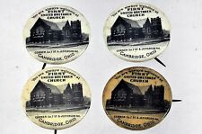 Set of Four (4) VTG First United Brethren Church, Cambridge, OH Pinback Buttons