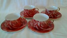 SET 4 PORCELAIN RED ROSE GOLD TRIM CUP  SAUCER CLASSIC COFFEE AND TEA CHINA