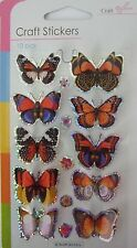 3D Orange Multi Colou Butterfly Stickers- Embellishments-Lots of uses 10 in pack