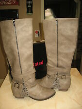 NEW WOMENS NOT RATED TWO OF HEARTS TAUPE BOOTS IN SIZE 10 - NIB