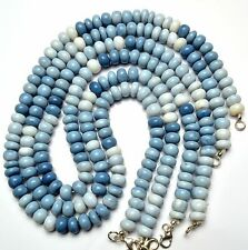 NATURAL GEM PERUVIAN BLUE OPAL SMOOTH 9MM RONDELLE BEADS NECKLACE 240CTS. 18""