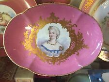 Antique 19th C. Sevres Footed Pink Gilded Plate - Madame Du Barry - Louis XV -