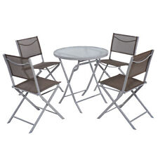 5 PCS Bistro Set Garden 4 Folding Chairs Table Outdoor Patio Furniture Textilene