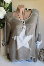 VINTAGE SHIRT STELLA Tunica TAUPE Camicia oversize 36 38 40 paillettes Batik Star