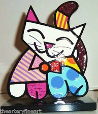 ROMERO BRITTO 'Cat' 2013 Kitty Table Top Sculpture / 2-D Figurine / Statue *NEW*