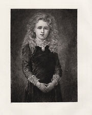 """Pretty George Frederic WATTS 1800s Antique Etching """"Charming Little Dorothy"""" COA"""