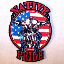 NATIVE PRIDE USA COW SKULL EMBRODIERED PATCH biker P537 novelty biker patches