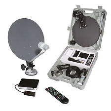 PORTABLE CARAVAN CAMPING SATELLITE KIT HD SYSTEM COMPLETE KIT IN CASE HIGH DEF.