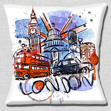 "LONDON BIG BEN ST PAUL'S BUS TAXI TELEPHONE BOX WHITE 16"" Pillow Cushion Cover"