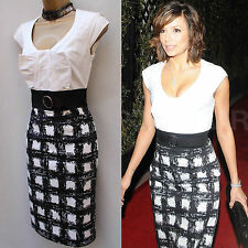 KAREN MILLEN RARE BLACK CHECK&WHITE COCKTAIL PENCIL DRESS (EVA LONGORIA) 10 UK