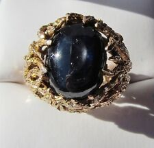 Chunky 14K Gold Tree Branch Set Dk Blu/Blk Sapphire Cocktail Ring 16g Not Scrap