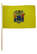 "12x18 12""x18"" State of New Jersey Stick Flag wood Staff"