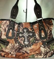 Rhinestone Cross Purse Bling Bag in Camo with Black Trim with Gun Pocket G1357