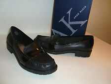 Anne Klein AK Womens NWB Lizbeth Black Leather Flats Shoes 6 MED NEW