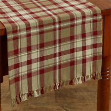 COUNTRY CUMBERLAND TABLE RUNNER 13X36 IN BURGUNDY IVORY TAUPE  PLAID COTTON