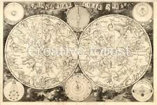 PLANISPHAERIUM, 1850 Vintage Astrology Map Repro Rolled CANVAS PRINT 34x24 in.