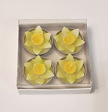 4 er Set Motivkerze / Motivteelicht Narzisse Blume gelb / Kerze / Teelichter