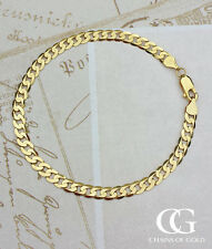 "Fine Solid 9ct Yellow Gold Curb Bracelet 8"" for Men, Ladies, Unisex"