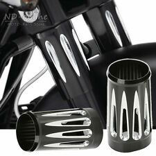 Pair Black Aluminum Front Fork Boot Slider Cover Cow For Harley Touring FLT