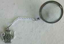 Stainless Steel Tea Infuser with Pewter Teapot Party Charm, New in box with Tags