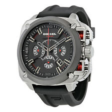 Diesel BAMF  Chronograph Grey Dial Black Silicone Mens Watch DZ7356
