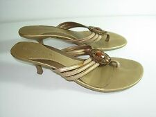 WOMENS BRONZE BEADED LEATHER FLIP FLOPS THONGS SANDALS HEELS SHOES SIZE 8.5 M