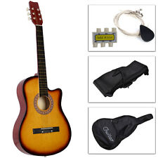 New Beginners Acoustic Guitar With Guitar Case, Strap, Tuner and Pick Yello