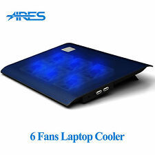 "Ares N2 6 Fans Laptop Cooler Notebook Cooling Pad Stand Blue LED F/ 12"" 15.4"""