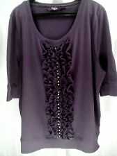 New Look Inspire Purple Short Sleeve Top with Ruffles and Studs Plus Sz 24