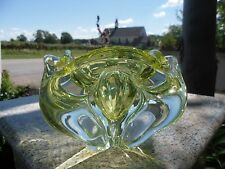 Mid Century Modern Lime Bright Green Clear Art Glass Bowl Chalet Canada