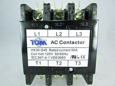 DEFINITE PURPOSE CONTACTOR 50AMP 3 POLE 120VAC-50/60Hz-HEAT PUMP, AC & REFRIGER.