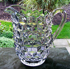 "LARGE 7"" PRESSED GLASS HOBNAIL STYLE FOOTED WATER JUG / PITCHER - ART DECO PERIO"