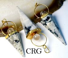 Gold Plated Rainbow Moonstone Cone w/ Crystal Ball Top Pendant (CN10DG)