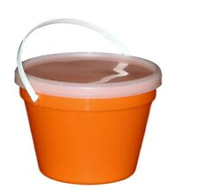 3 Orange One Gallon Buckets  Lids  Large Container Mfg USA Lead Free Durable