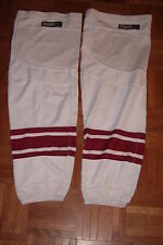 PHOENIX COYOTES game-worn road white socks Reebok size XL with use+team repairs