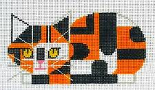 Calico Cat handpainted Needlepoint Canvas Ornament 18m by Charlie Harper