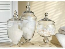 Assorted Footed Glass Canisters With Lids Set storage sugar candy jars bowls