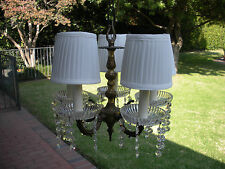 Vintage Brass And Crystal Chandelier - MADE IN SPAIN