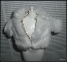 TOP  BARBIE JUICY COUTURE MODEL MUSE DOLL WHITE FAUX FUR TAN LINED JACKET COAT