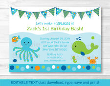 Under the Sea Octopus Crab Whale Nautical Birthday Invitation EDITABLE PDF