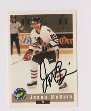 92/93 Classic Draft Jason McBain Portland Winter Hawks Autographed Hockey Card