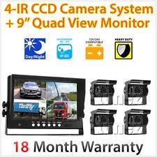 """9"""" Quad Monitor Splitscreen 4PIN CCD Reversing Camera 12V 24V 4 Package Kit Set"""