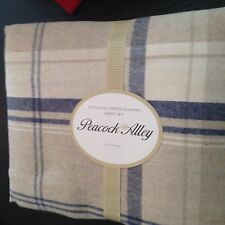 Peacock Alley Queen Sheet Set Upcycled Cotton Flannel Tan Blue Plaid New